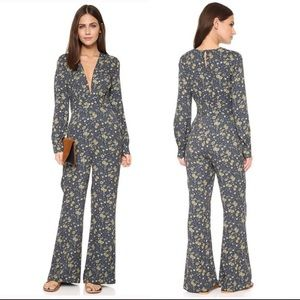 Free People Midnight Combo Gray Floral Jumpsuit 10